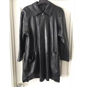 Siena Studio Vintage Soft Black Leather Coat